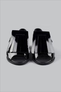 Half-Measures-Fringe-Sandal-Black-FrontOnFRA