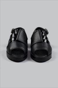 Half-Measures-Peel-Back-Sandal-Black-FrontOnFRA